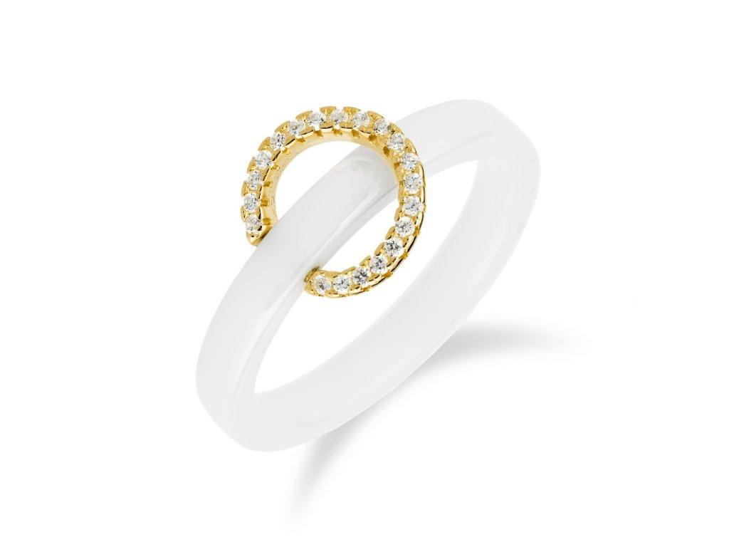Keramický stříbrný prsten se zirkony a zlacením - Meucci SR032/20