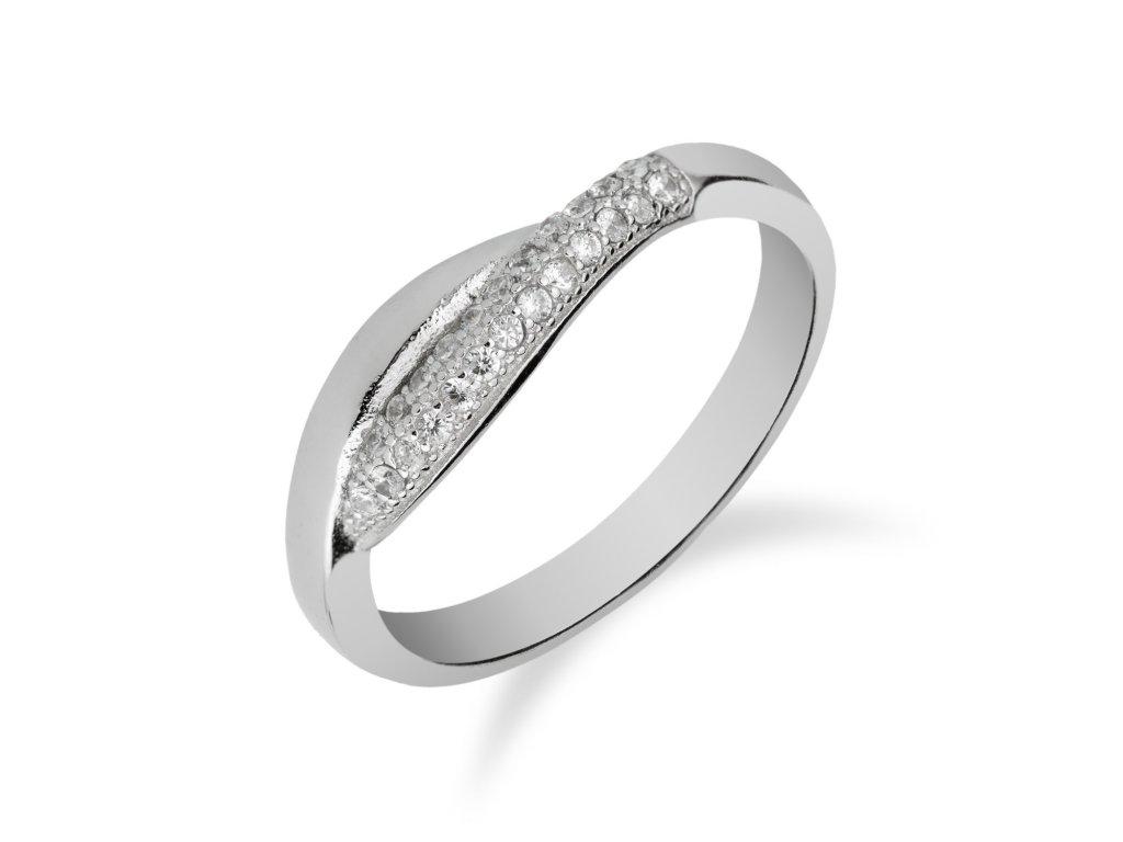 Jemný stříbrný prsten se zirkony - Meucci SR058