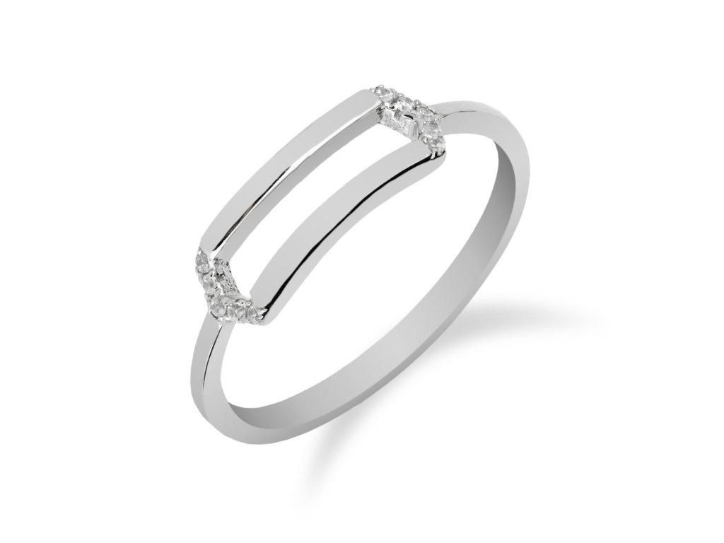 Stříbrný prsten s obdélníkem a zirkony - Meucci SR063