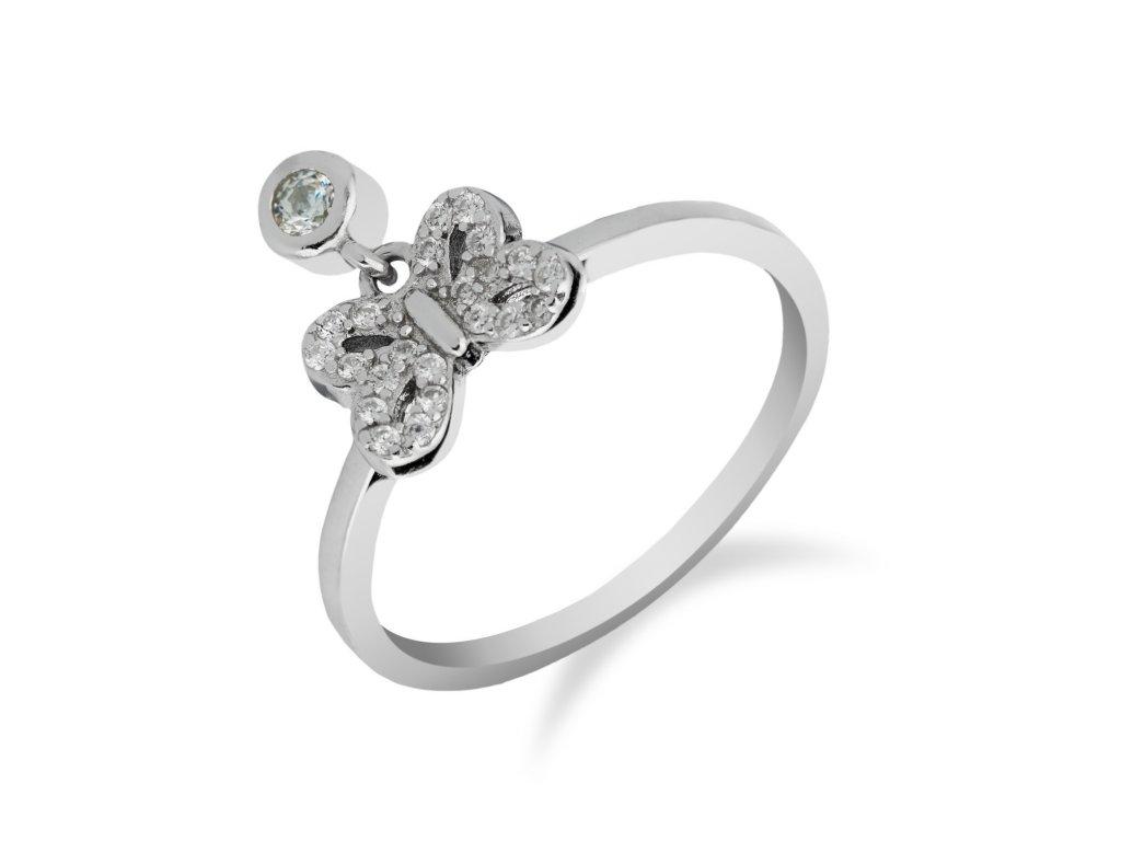 Stříbrný prsten s motýlkem a zirkony - Meucci SR069
