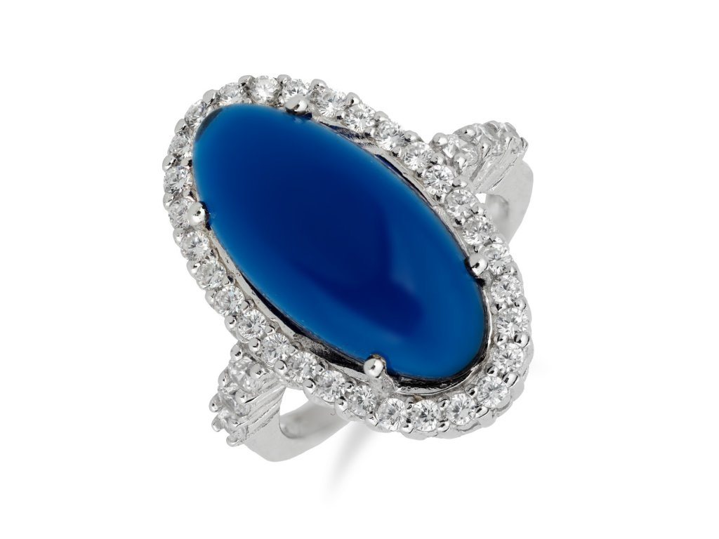 Stříbrný prsten s výrazným safírem a zirkony - Meucci SS55R/01