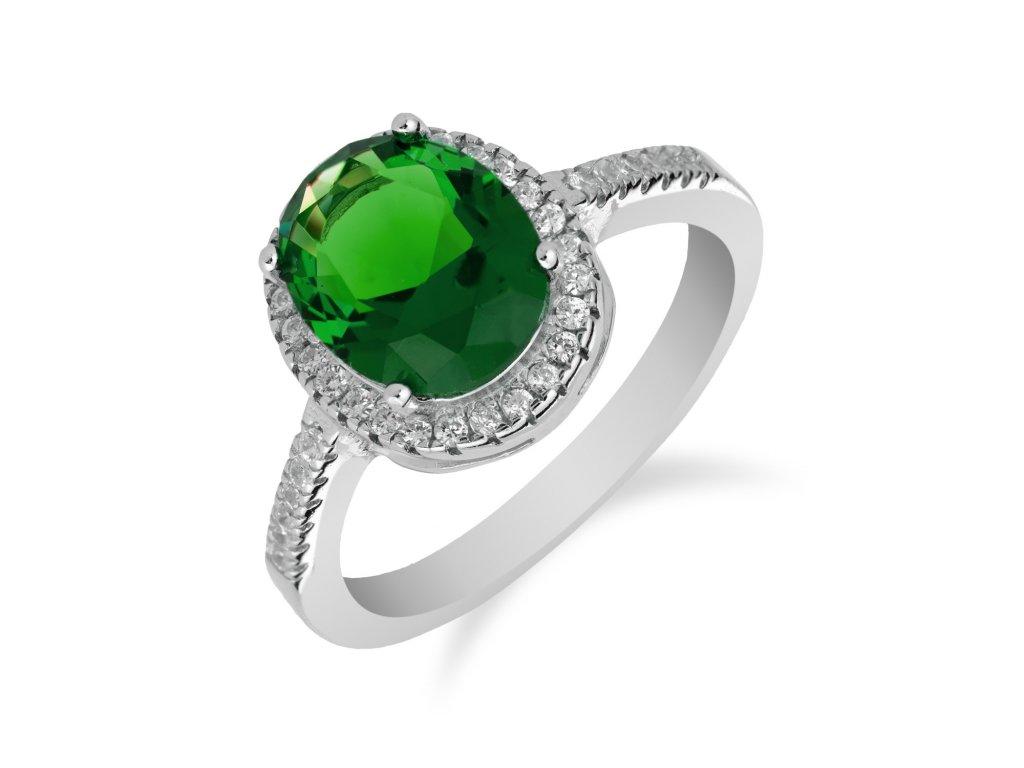 Stříbrný prsten s výrazným smaragdem a zirkony