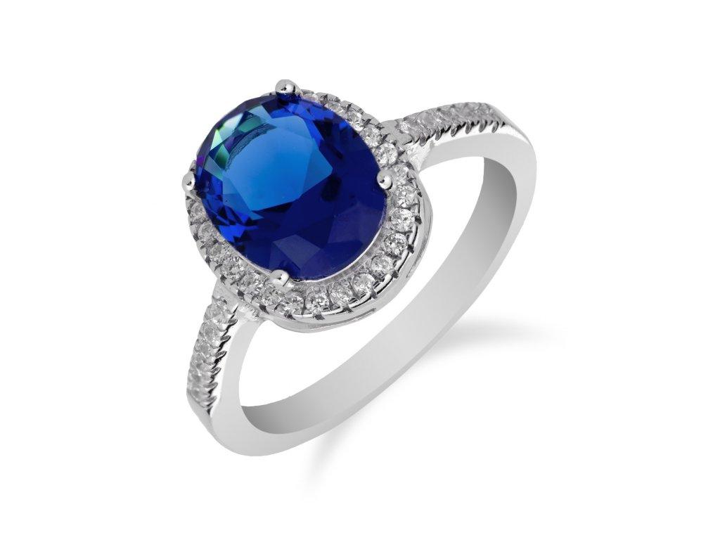 Stříbrný prsten s výrazným safírem a zirkony