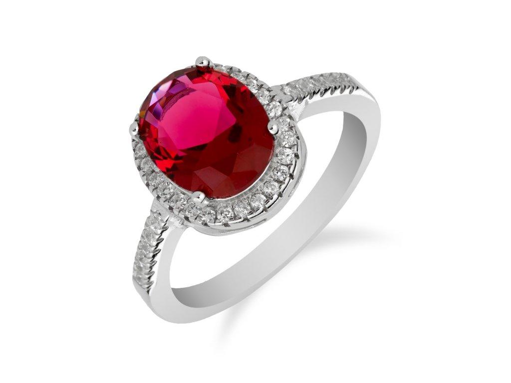 Stříbrný prsten s výrazným rubínem a zirkony - Meucci SS126R/03