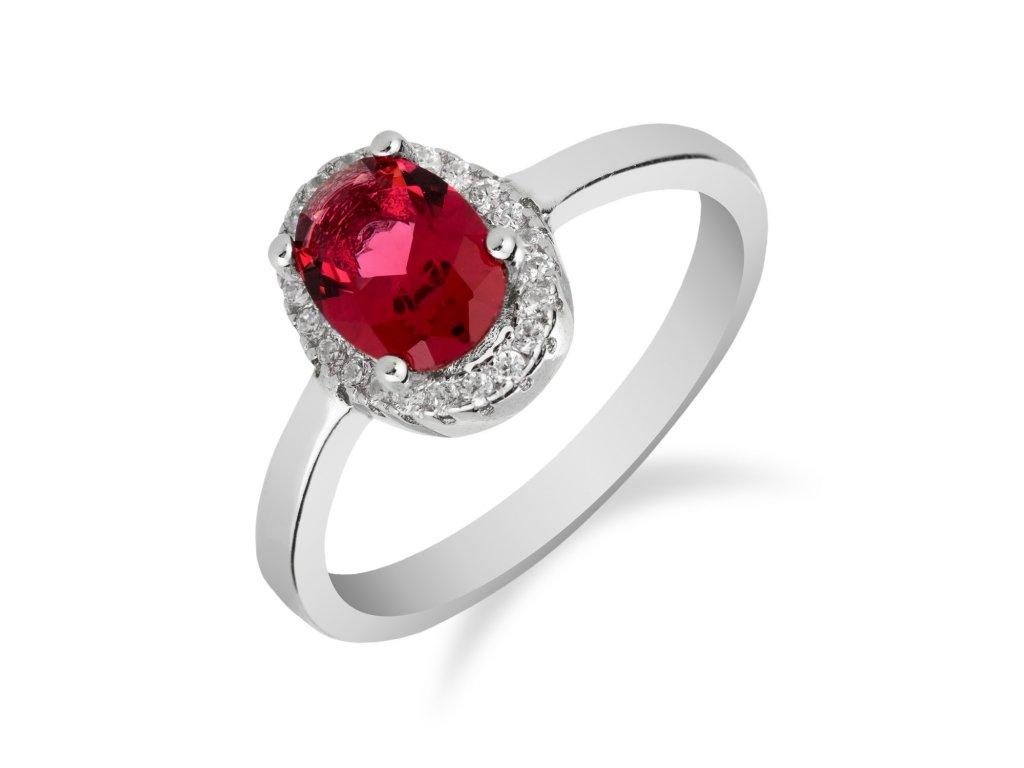 Elegantní stříbrný prsten s oválným rubínem - Meucci SS134R/03