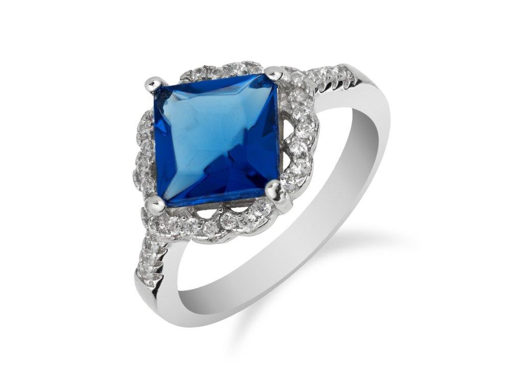 Stříbrný prsten s výrazným safírem a zirkony - Meucci SS137R/01