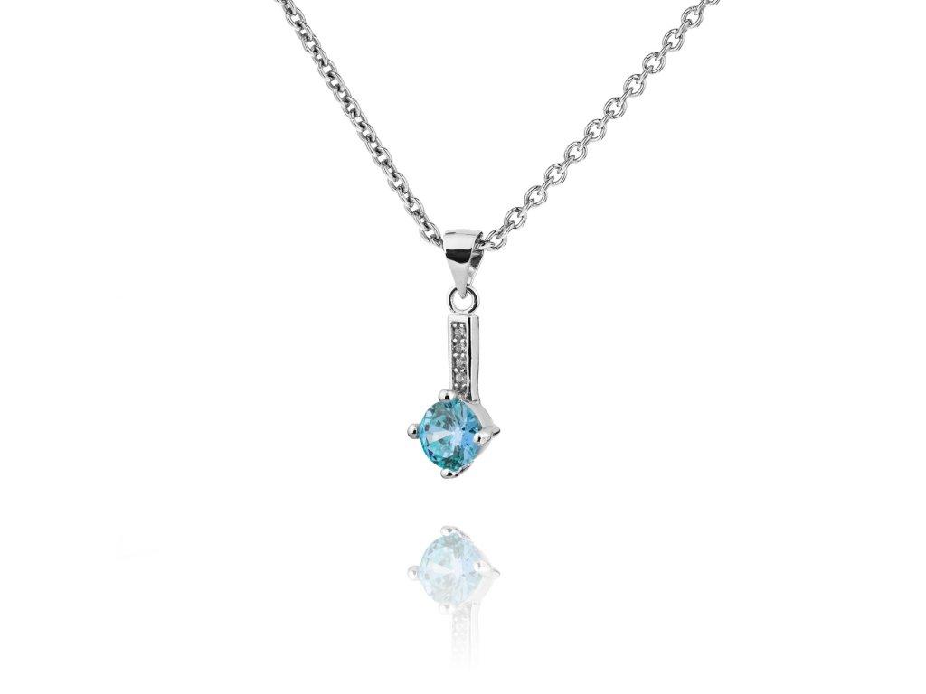 Jemný stříbrný náhrdelník s akvamarínem a řadou zirkonů