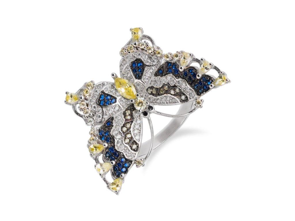 Stříbrný prsten s motýlem osázeným citríny, zirkony a safíry - Meucci SR094