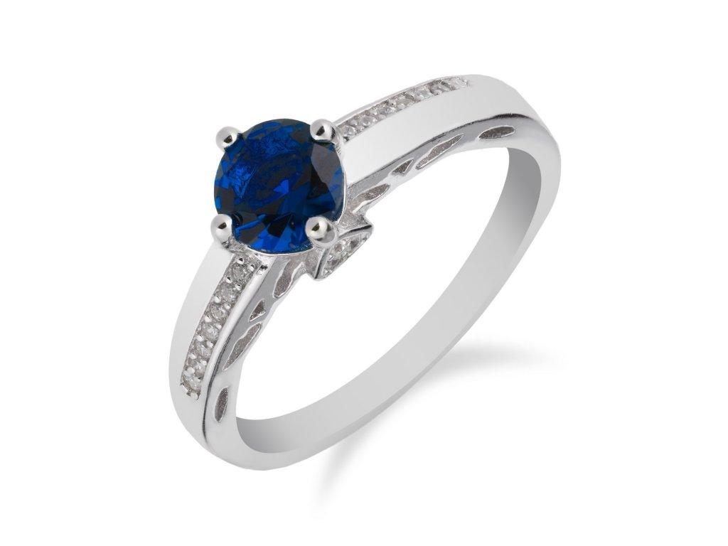 Jemný stříbrný prsten se safírem a řadou zirkonů - Meucci SS86R/01
