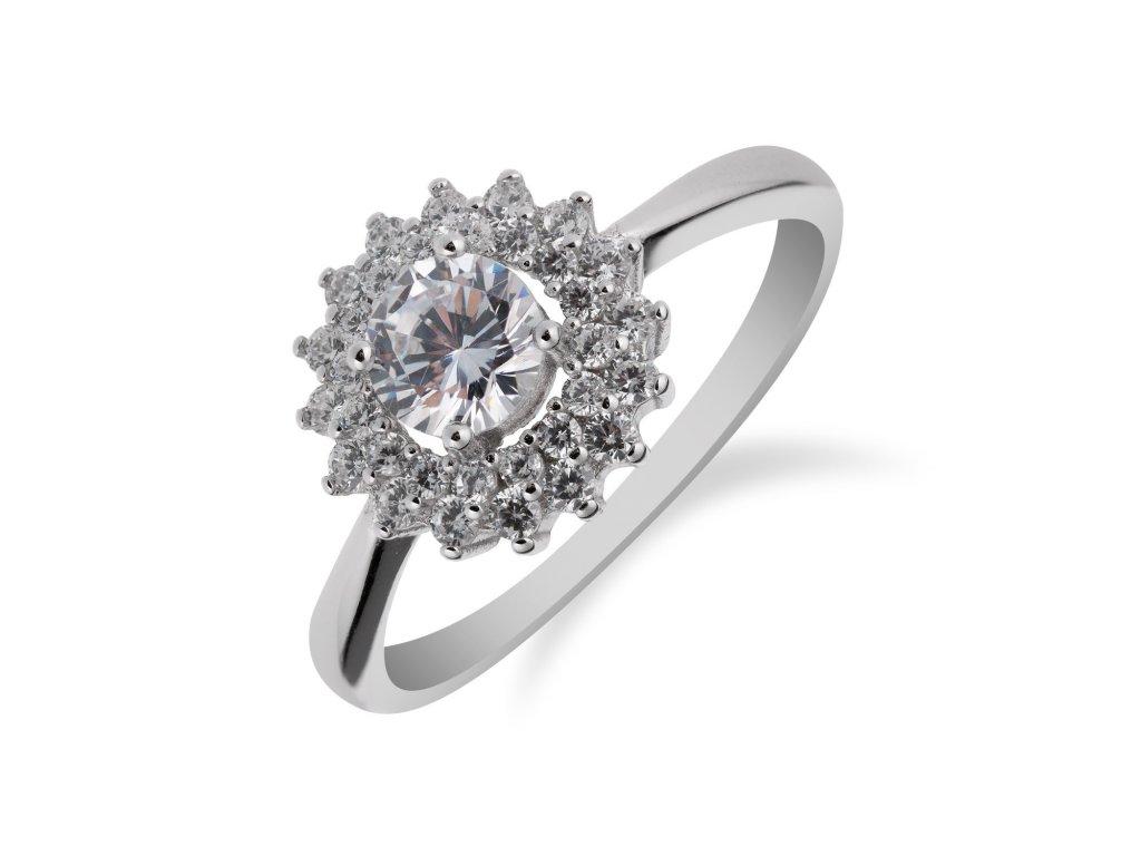 Stříbrný prsten se zirkonem a drobnými zirkony okolo - Meucci SS143R/08