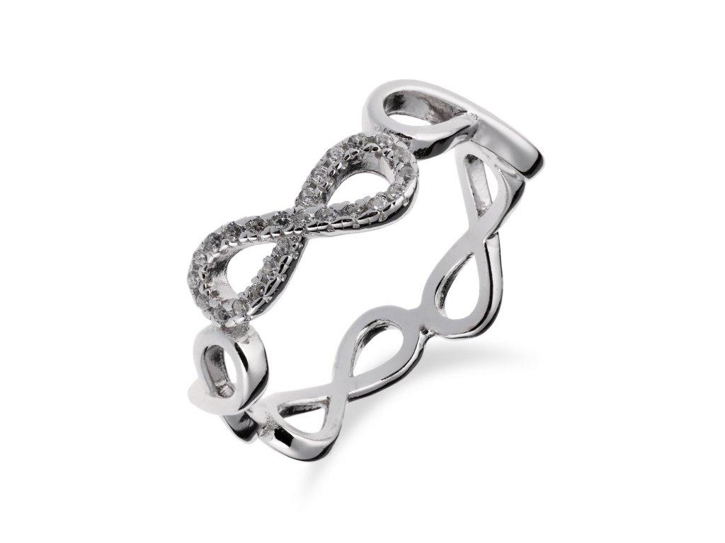 Stříbrný prsten INFINITY se zirkony - Meucci SR103