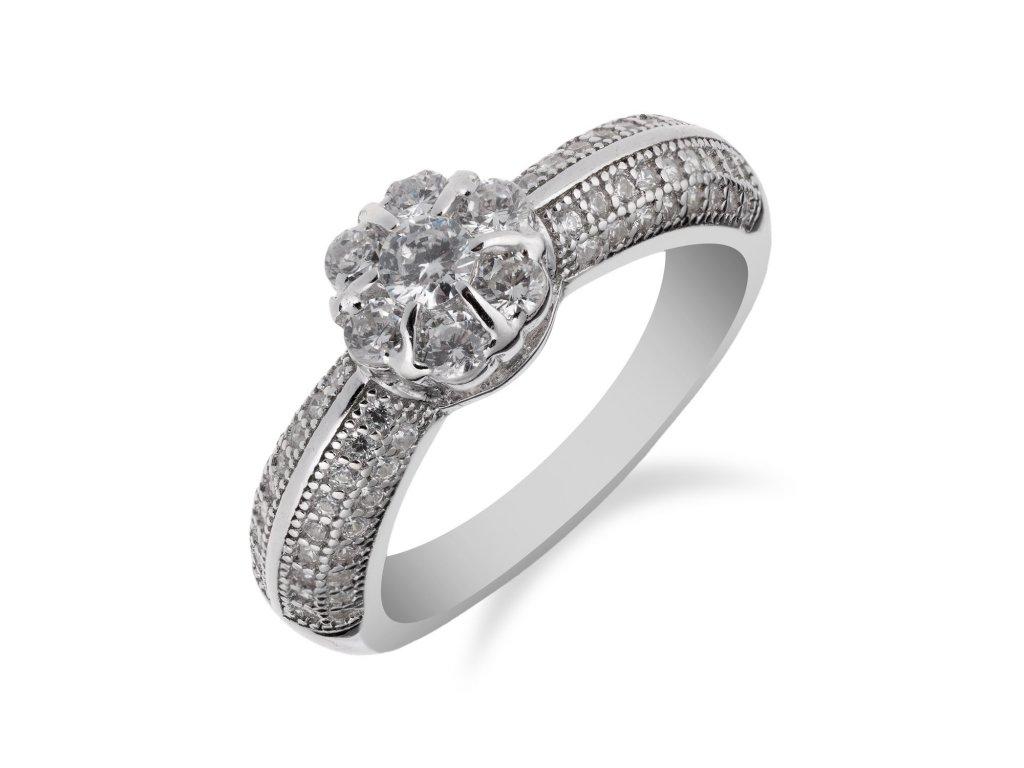 Stříbrný prsten zdobený zirkonovou květinkou - Meucci SS156R