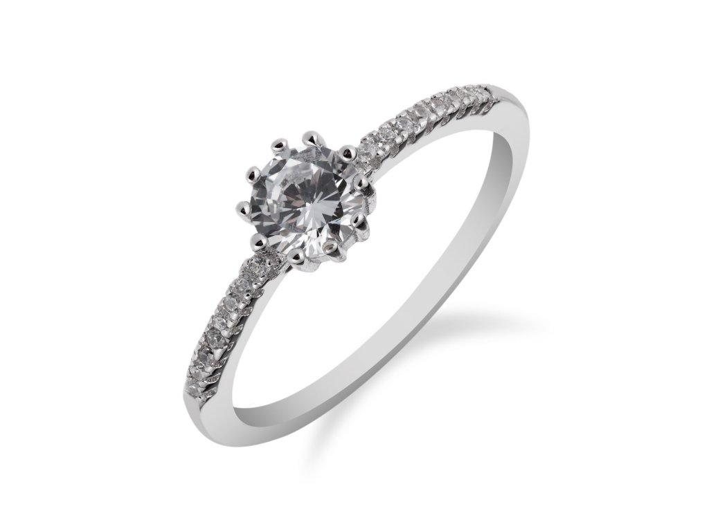 Jednoduchý stříbrný prsten se zirkonem - Meucci SS164R
