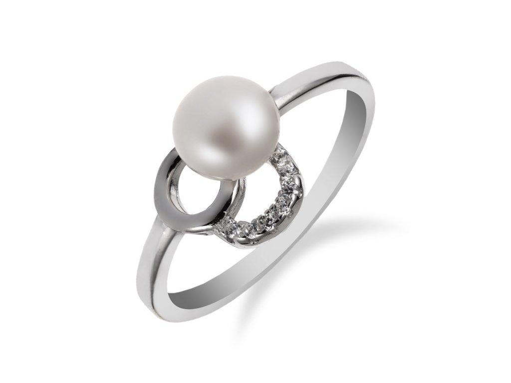 Romantický stříbrný prsten s perlou a zirkony - Meucci SP56R