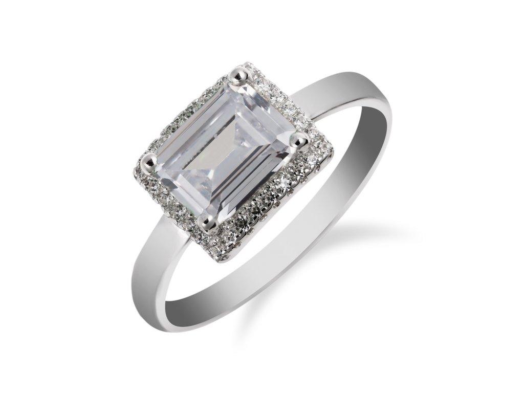 Prsten ze stříbra zdobený obdélníkovým zirkonem a malými zirkony okolo - Meucci SS173R
