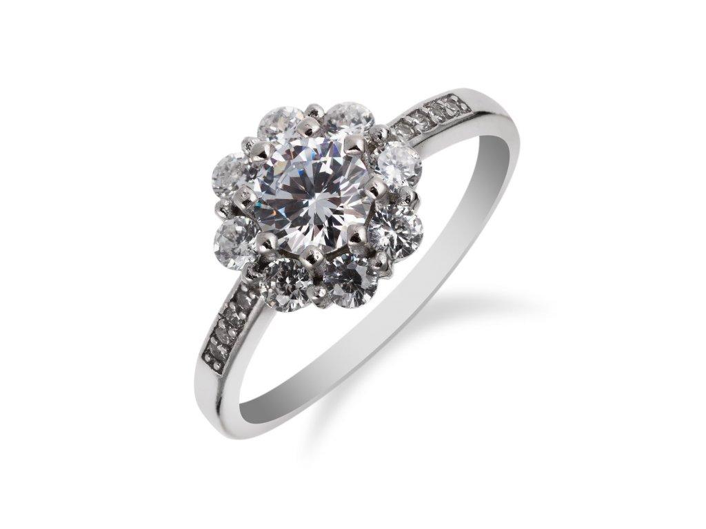 Stříbrný prstýnek se zirkonovou květinkou a páskem zirkonů - Meucci SS136R/08