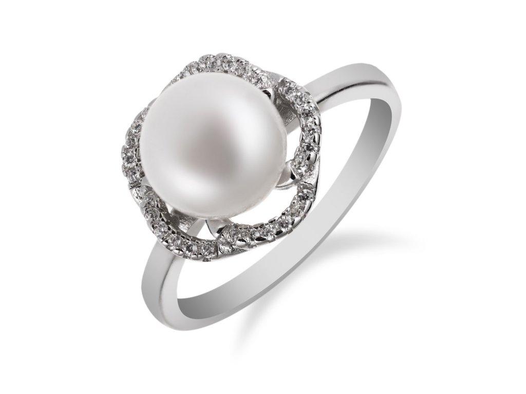 Stříbrný prstýnek s perlou uprostřed a zirkony okolo - Meucci SP57R