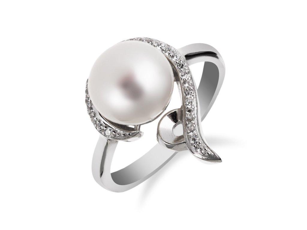 Prstýnek ze stříbra zdobený perlou a zirkony - Meucci SP58R