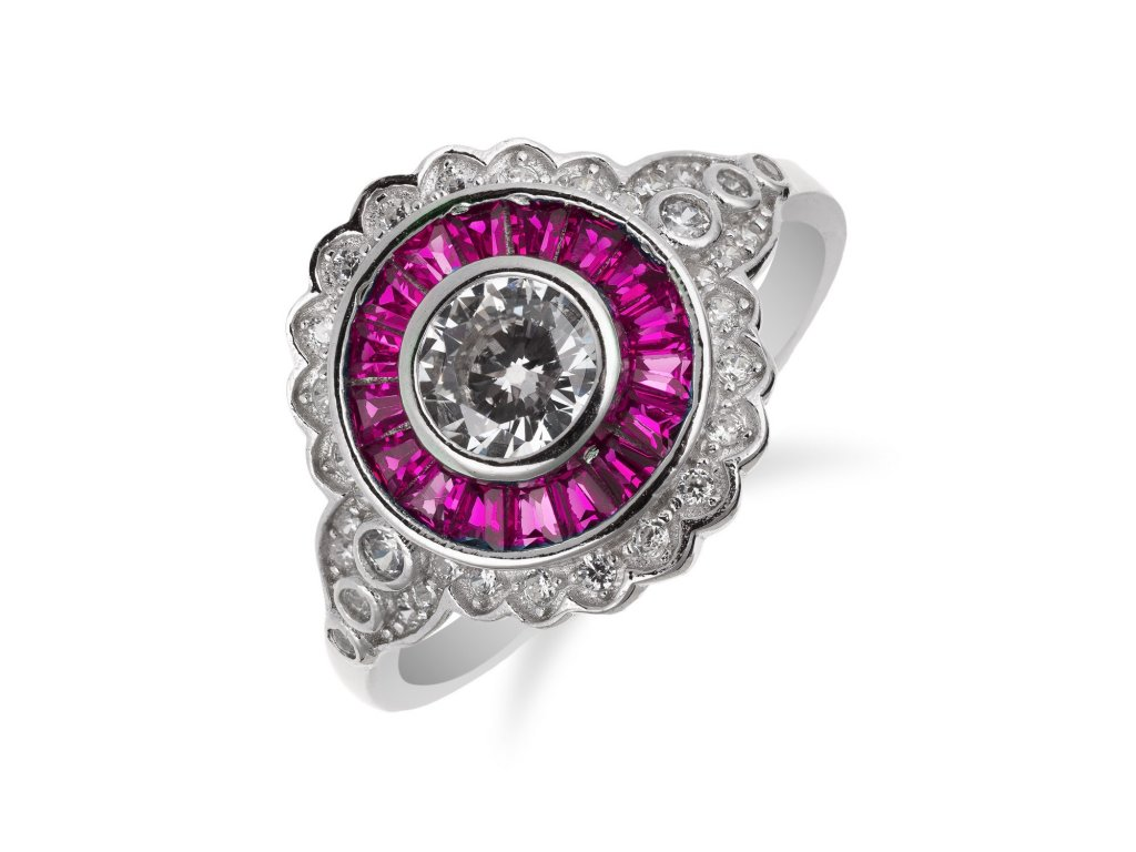 Výrazný stříbrný prsten s turmalínovým zdobením a zirkony - Meucci SS176R/04