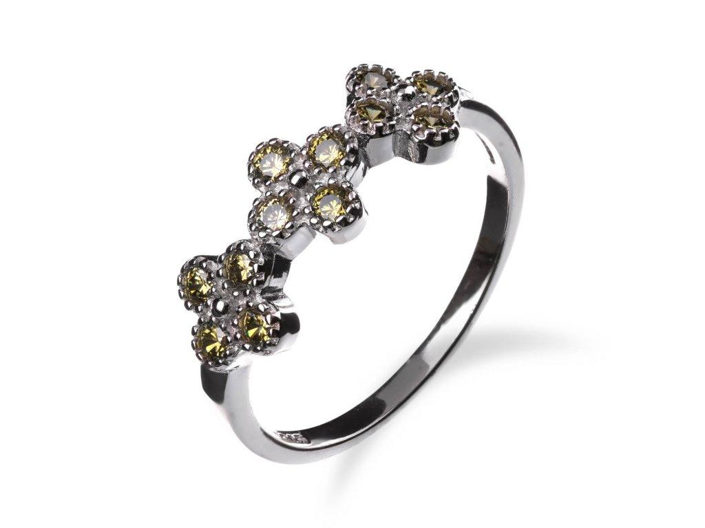 Stříbrný prsten s olivínovými čtyřlístky - Meucci SR128/11