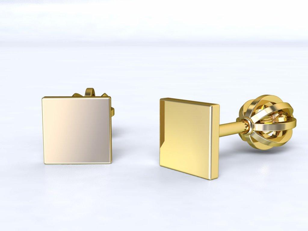 Zlaté čtvercové bodové náušnice - 3Dstyl 21370102