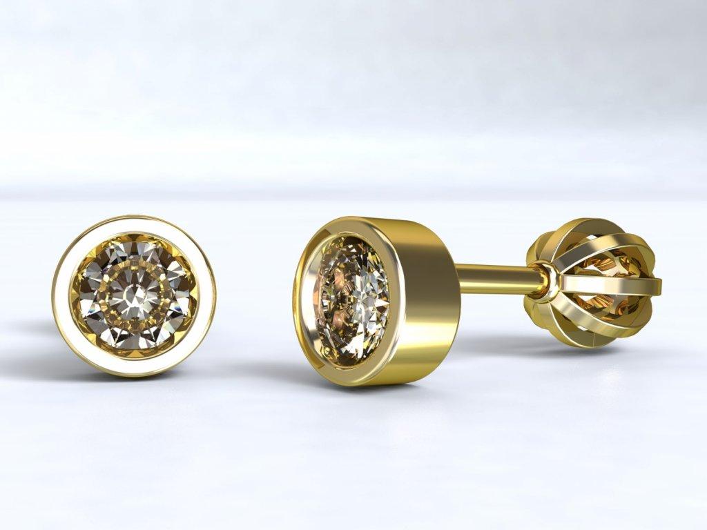 Zlaté náušnice pecky se zirkonem - 3Dstyl 21570102