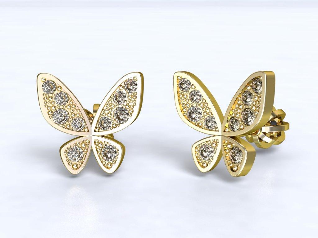 Zlaté náušnice ve tvaru motýlka se zirkony  - 3Dstyl 21630102