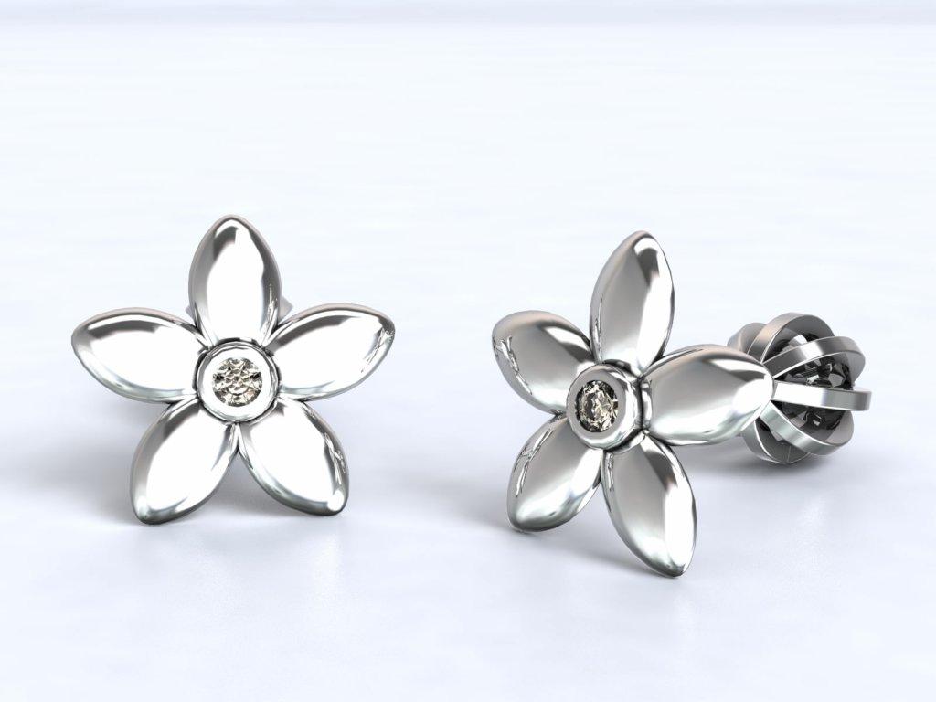 Náušnice z bílého zlata ve tvaru květu - 3Dstyl 21640101