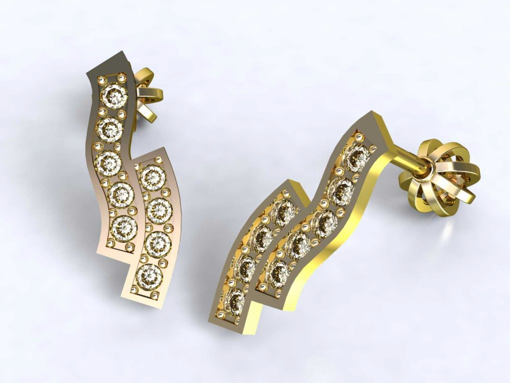 Zvlněné dvojité zlaté náušnice se zirkony - 3Dstyl 21740102