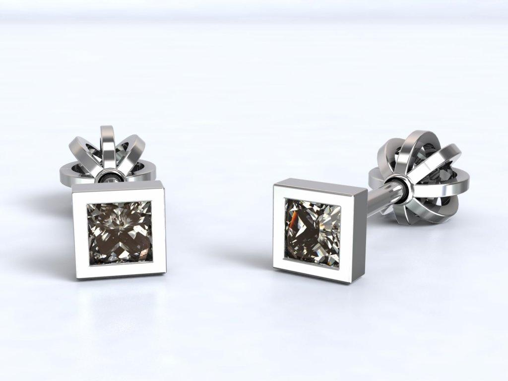 Čtvercové náušnice z bílého zlata se zirkonem - 3Dstyl 21750101