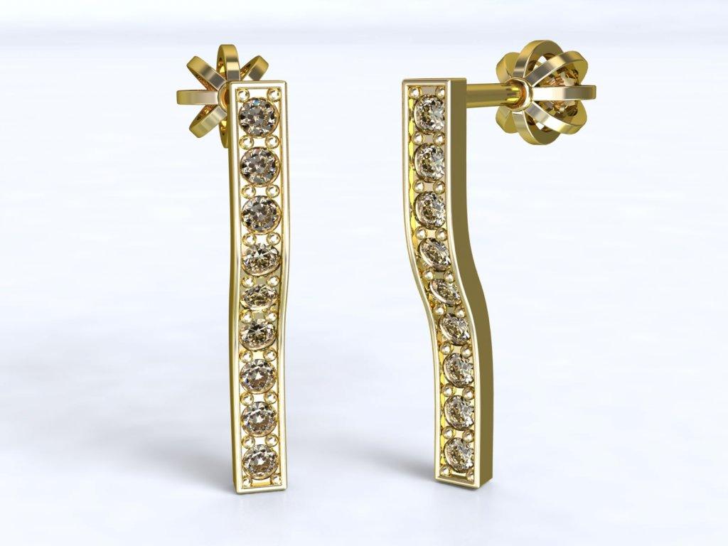 Prohnuté zlaté náušnice se zirkony - 3Dstyl 21770102