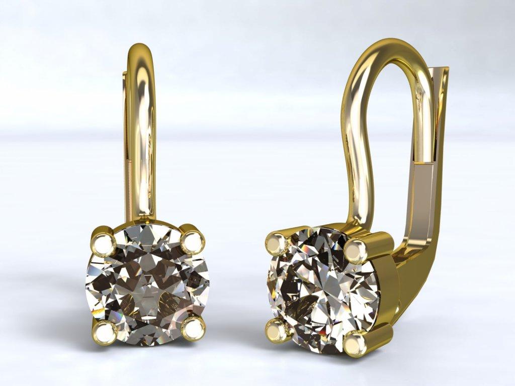 Zlaté náušnice s kulatým zirkonem - 3Dstyl 22120102