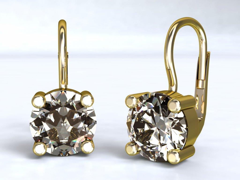 Zlaté náušnice s výrazným zirkonem - 3Dstyl 22180102