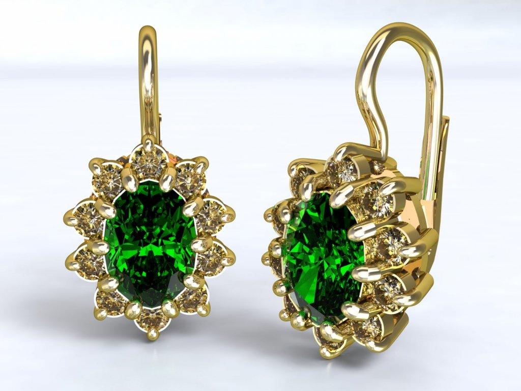 Zlaté náušnice se výrazným smaragdem a zirkony - 3Dstyl 22230102