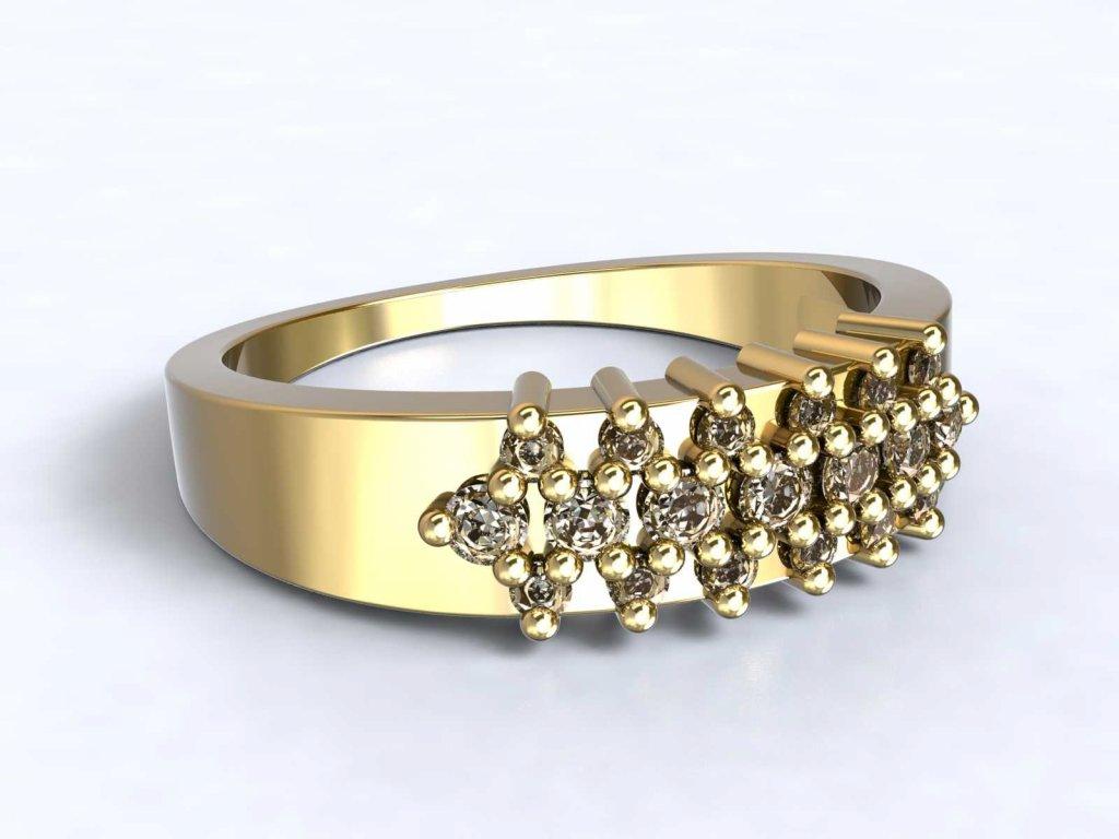 Zlatý prsten s řadami zirkonů  - 3Dstyl 31260102