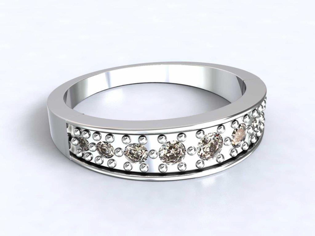 Prsten z bílého zlata zdobený zirkony - 3Dstyl 31310101