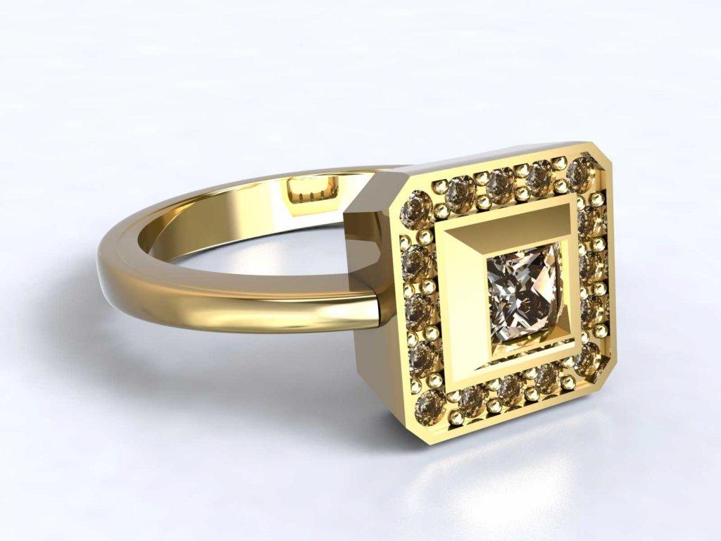 Zlatý prsten se zirkonovým zdobením do čtverce  - 3Dstyl 31470102