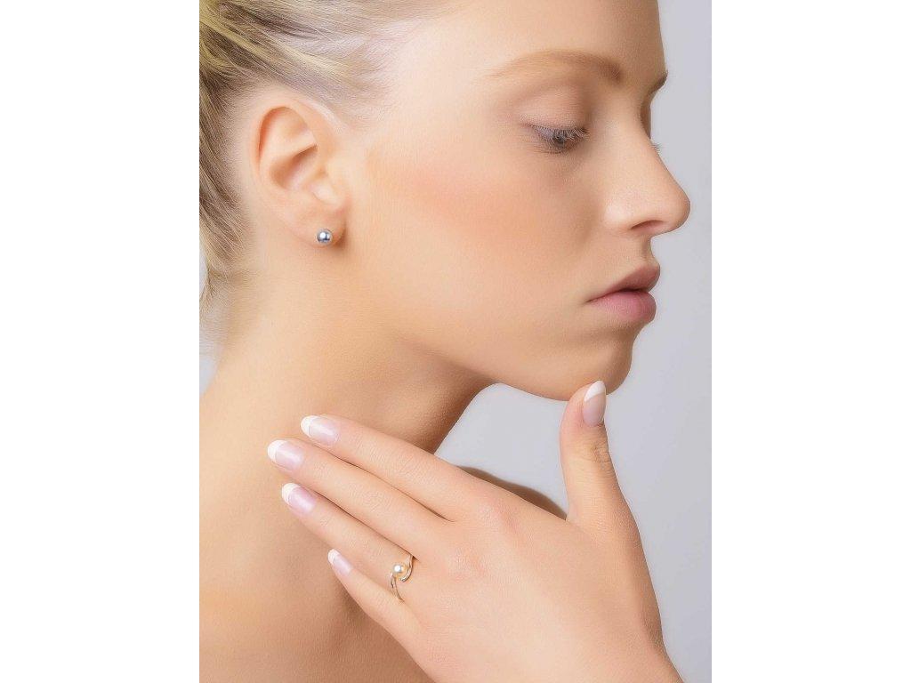 Jednoduché náušnice z bílého zlata s perlou- 3Dstyl 21090101