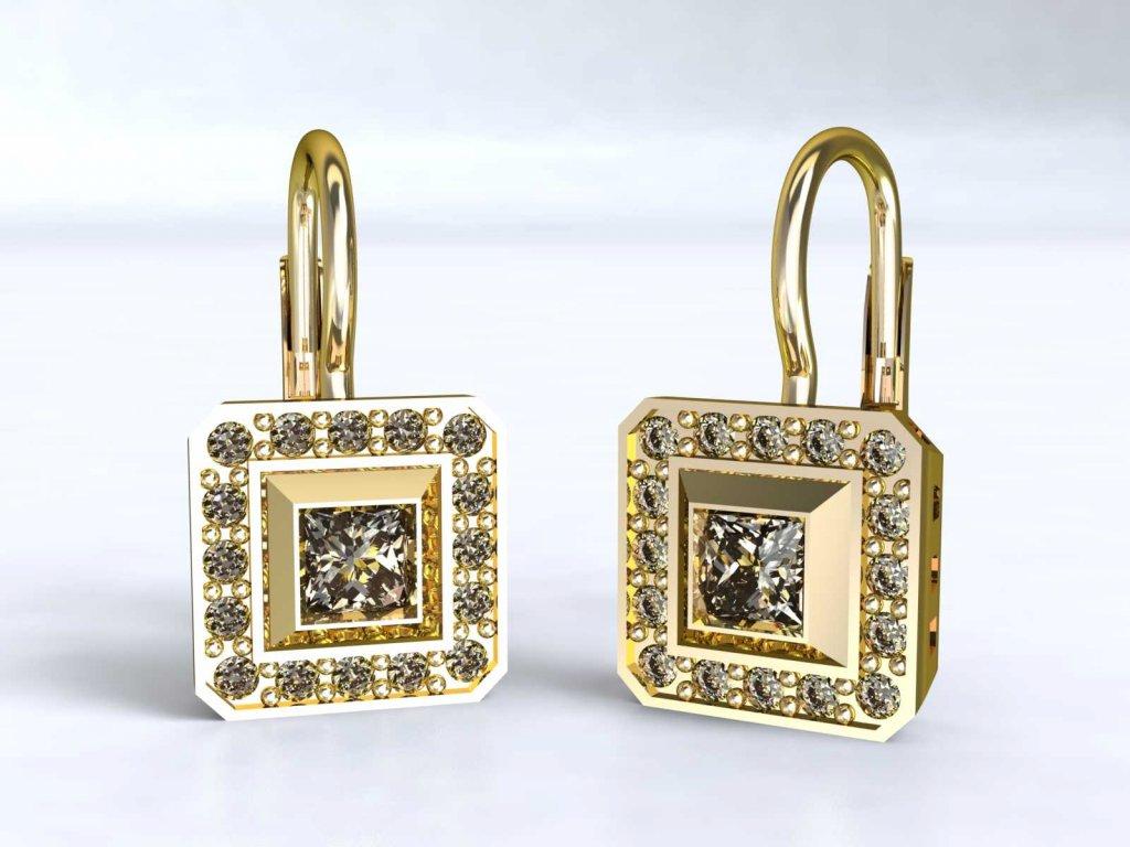 Dvojitě čtvercové zlaté náušnice vyplněné zirkony - 3Dstyl 22240102