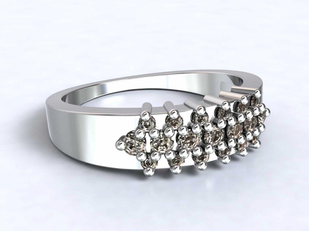 Prsten z bílého zlata s řadami zirkonů  - 3Dstyl 31260101