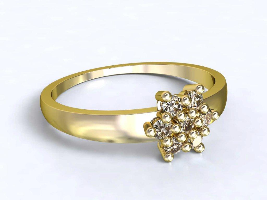 Zlatý prsten s kytičkou ze zirkonů - 3Dstyl 31400102