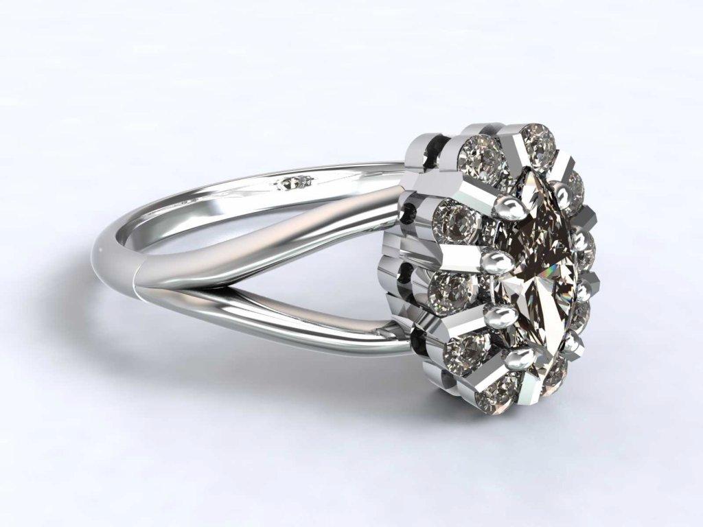 Zdobný prsten z bílého zlata se zirkony  - 3Dstyl 31520101