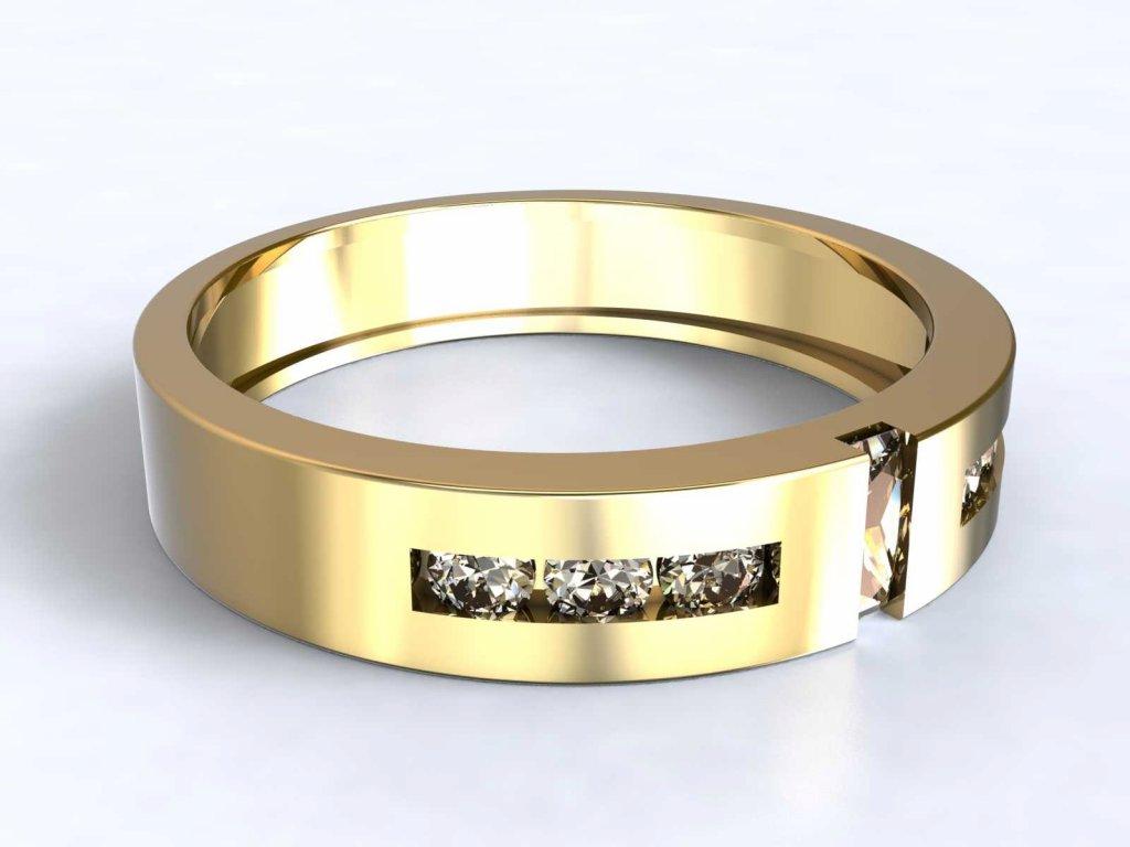 Zlatý prsten s jemným zirkonovým zdobením  - 3Dstyl 31580102
