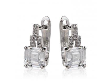 Náušnice ze stříbra zdobené zirkonovým čtvercem a drobnými zirkony - Meucci SS148E/08