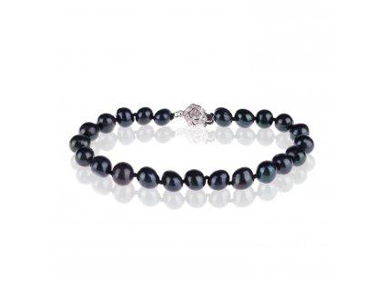 Náramek z černých perel se zapínáním ze stříbra - Meucci SPS001B