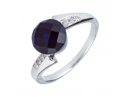 Stříbrný prsten s tmavým safírem a zirkony - Meucci SS33R/01