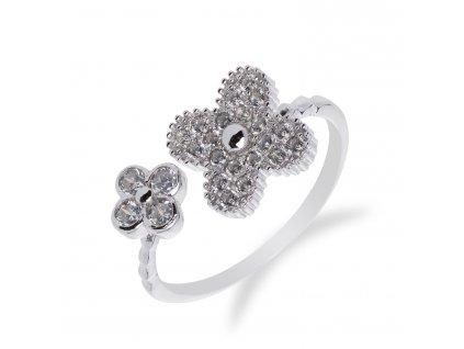 Roztomilý stříbrný prsten s kytičkami - Meucci SS56R