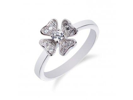 Jemný stříbrný prstýnek s kytičkou ze zirkonů