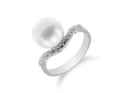 Stříbrný prsten s vlnkou a perlou - Meucci SP34R