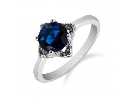 Stříbrný prsten s drobnou hvězdičkou se safírem a zirkony - Meucci SS75R/01